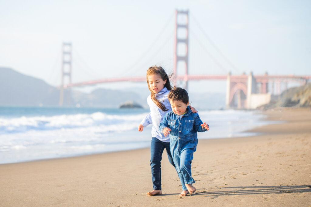 kids running in sand